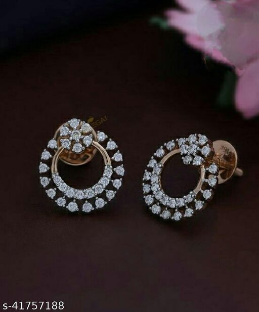 CZ Studded Flower Style Earring