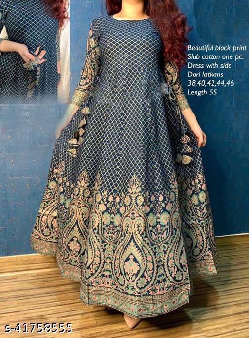 ISHOO Rayon Fabric Blue Color Kurti For Women-fsf005