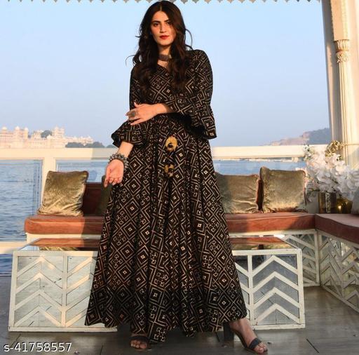 ISHOO Reyon Fabric Black Color Kurti For Women -107Black