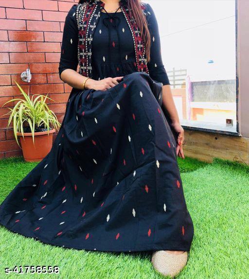 ISHOO Rayon Fabric Black Color Kurti with Shrug For Women-125Black