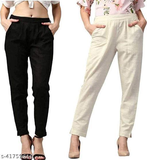 HOUSE OF LIBAAZ Regular Cotton Flex Trouser For Womens Combo (Pack Of )