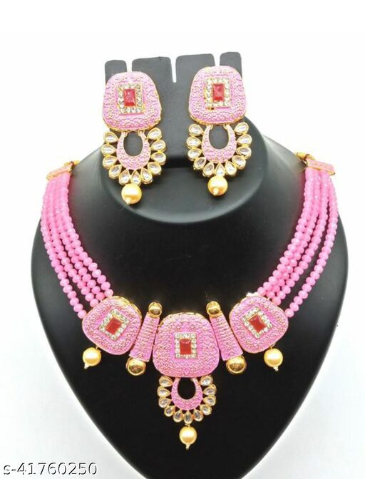 Jewar Mandi Brass Gold Plated Jewel Set(Pink)
