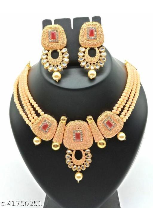 Jewar Mandi Brass Gold Plated Jewel Set(Cream)