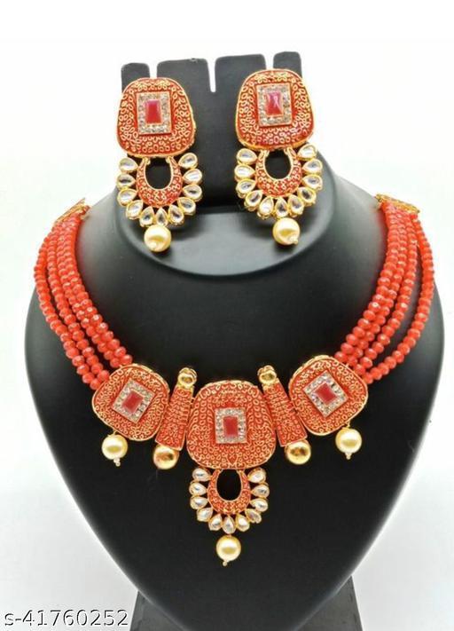 Jewar Mandi Brass Gold Plated Jewel Set(Red)