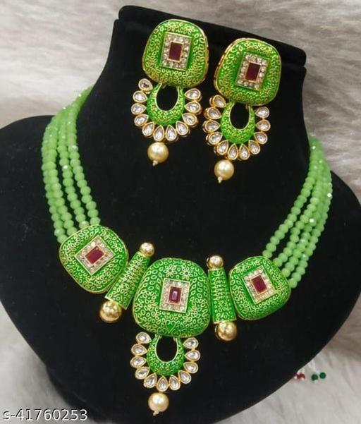 Jewar Mandi Brass Gold Plated Jewel Set(Light Green)