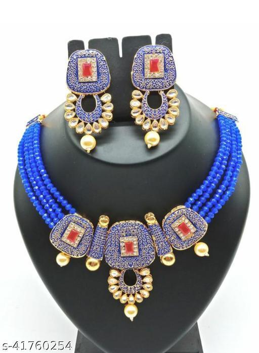 Jewar Mandi Brass Gold Plated Jewel Set(Blue)