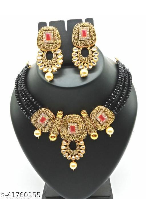 Jewar Mandi Brass Gold Plated Jewel Set(Black)