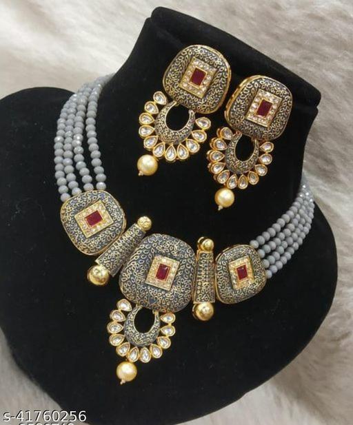 Jewar Mandi Brass Gold Plated Jewel Set(Grey)