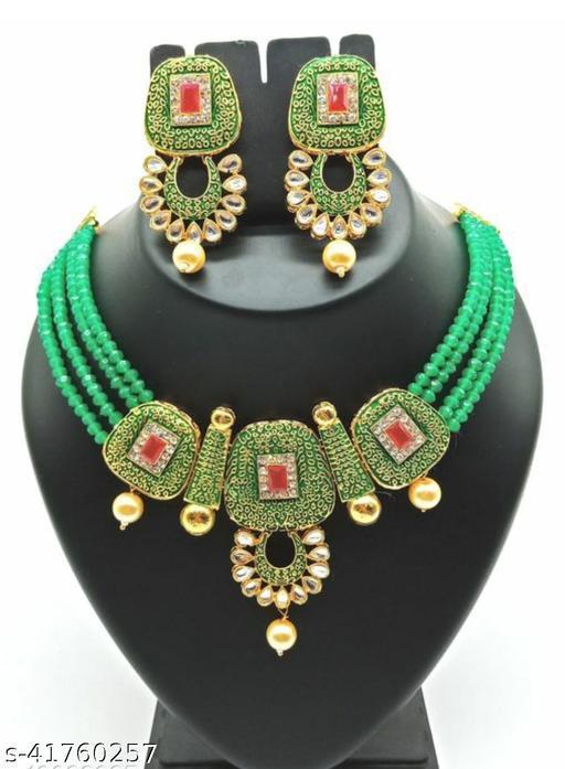 Jewar Mandi Brass Gold Plated Jewel Set(Dark Green)