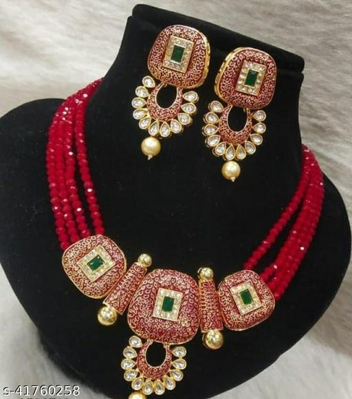 Jewar Mandi Brass Gold Plated Jewel Set(Maroon)