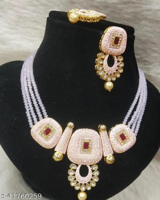 Jewar Mandi Brass Gold Plated Jewel Set(Light Pink)