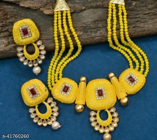 Jewar Mandi Brass Gold Plated Jewel Set(Yellow)
