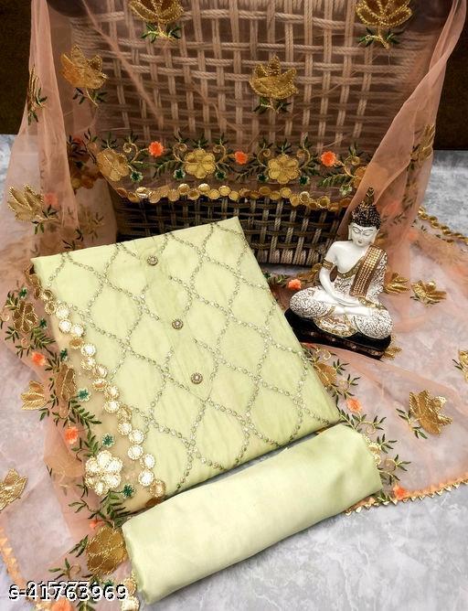 Women's Chanderi Silk Embellished Unstitched Salwar Suit Material