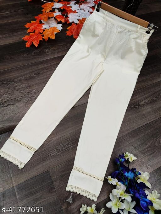 Fashion Era Women And Girl's Special Cotton Stretchable Pants With Two Side Pockets With Beautiful Lace.