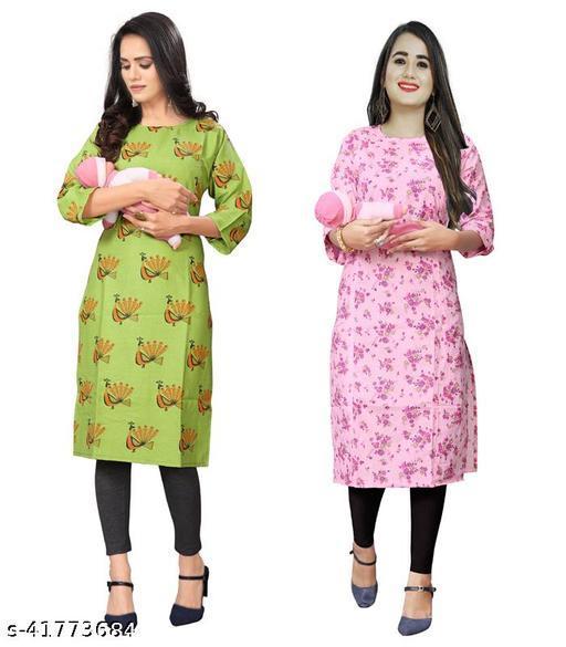 Women Cotton Maternity Kurti And Feeding Kurti Combo