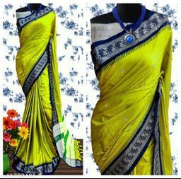 Nath Traditional Paithani Silk Sarees With Contrast Blouse Piece (Lemon & Navy )