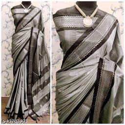 Sanskar Traditional Paithani Silk Sarees With Contrast Blouse Piece (3D Grey & Black)