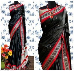 Nath Traditional Paithani Silk Sarees With Contrast Blouse Piece (Black & Red )