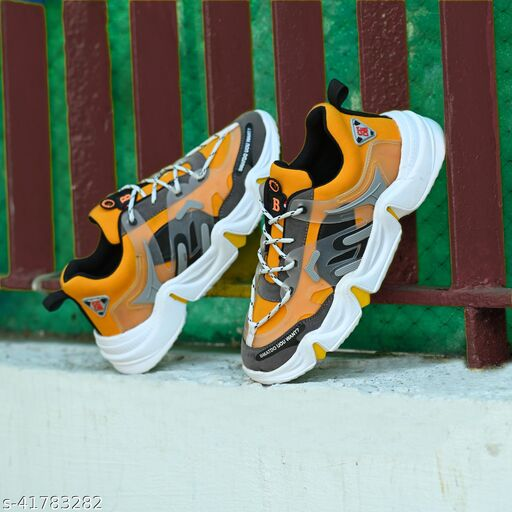 ON9 Men's Yellow New Stylish With Premium Quality Mesh Lace-Ups Sport's Running Walking Gym Jogging Shoe .