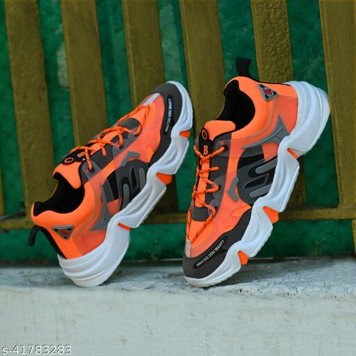 ON9 Men's Orange New Stylish With Premium Quality Mesh Lace-Ups Sport's Running Walking Gym Jogging Shoe .