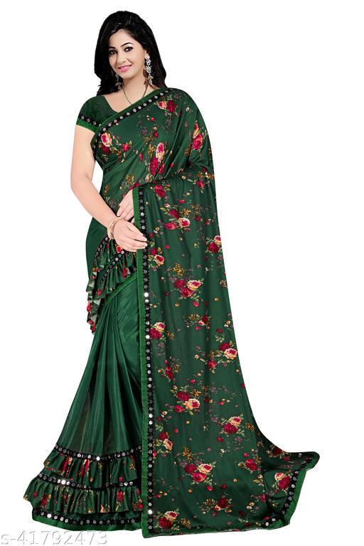 JAY AMBEY FABRICS Digital Print Malai Lycra Silk Ruffle Saree with Blouse Piece For women