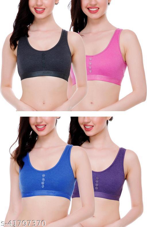 StyFun Women's Cotton Sports Bra for women Gym, Yoga, Running Bra for Girls Combo Pack BluePinkBlackPurple Cup B