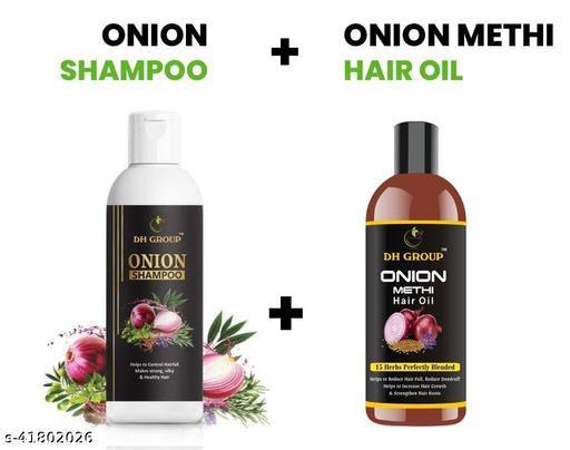 DH GROUP ONION HAIR SAMPOO & METHI ONIAN HAIR OIL FOR HAIR FALL CONTROL & HAIR LOOK SHINER