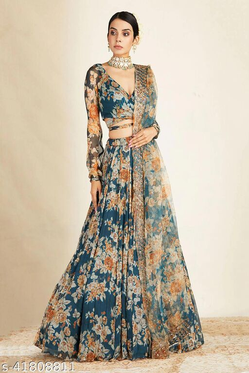 Women's Silk Georgette Printed Work Semi-Stitched Lehenga choli