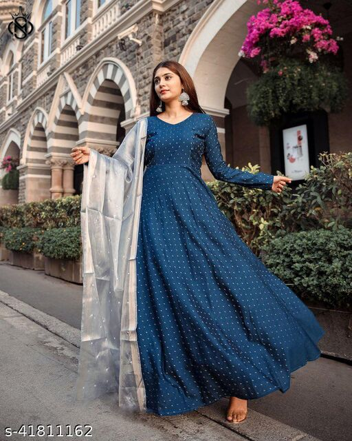 captative Light blue colour ready made gown with soft net pearl work dupatta