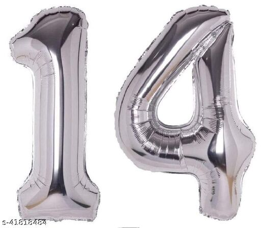 """16"""" No.14 Silver Foil Balloon for 14th Year Birthday Decoration Items for Boys Or Girls / Anniversary Decorations Pack of 2"""