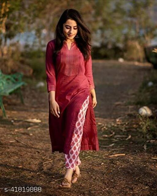 Cosmo Crafts Women's/Girls Rayon Straight Embroidery Kurti with Pant Maroon