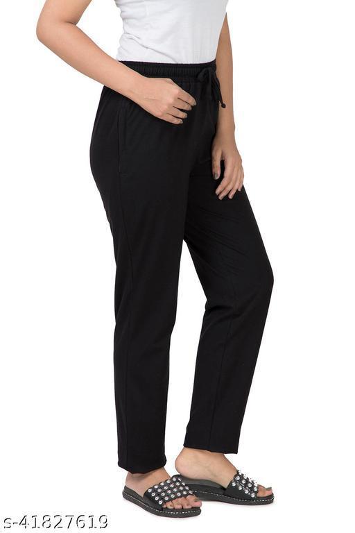 Bell Paper Women Cotton   Track Pants BLACK