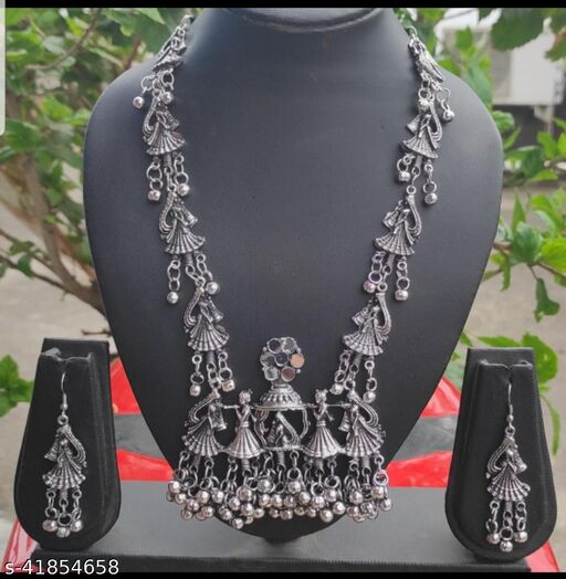 New Diva Oxidized silver trendy necklace with earrings