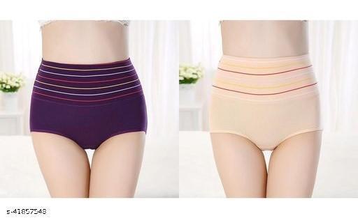 Women Brazilian/Cheeky Purple Cotton Blend Panty (Pack of 2)