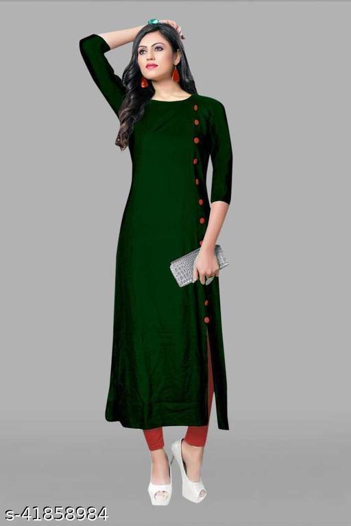 Women Reyon High-Sit Solid Green Kurti