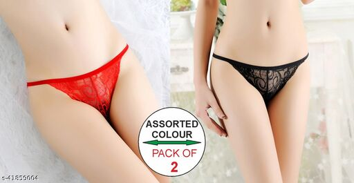 Women Hipster Red Net Panty (Pack of 2)