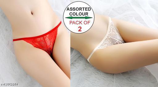 Women Brazilian/Cheeky White Net Panty (Pack of 2)