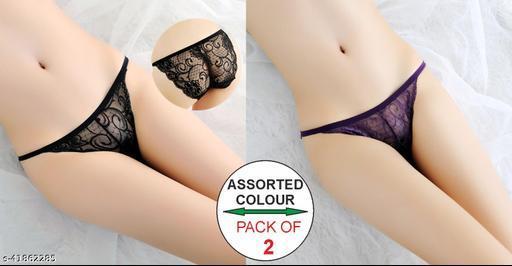 Women Brazilian/Cheeky Black Net Panty (Pack of 2)