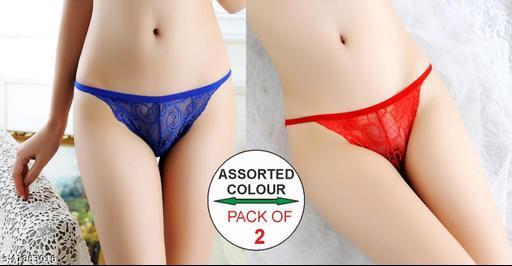 Women Thongs/G-String Blue Net Panty (Pack of 2)