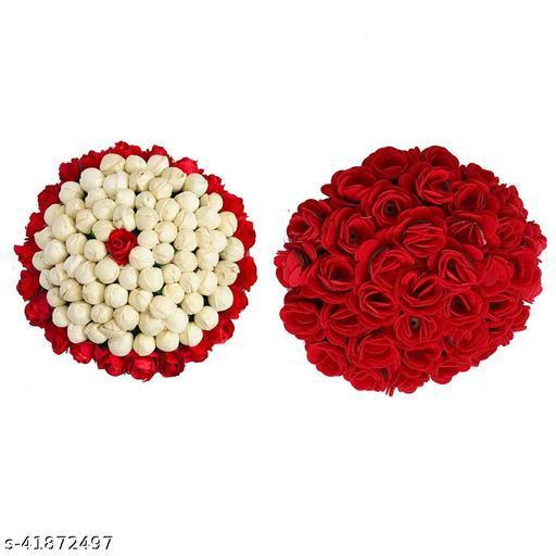 VinshBond New Artificial Paper flower Bun Gajra Juda Maker/Gajra Hair Accessories for Women - Pack-02 (Multicolor)