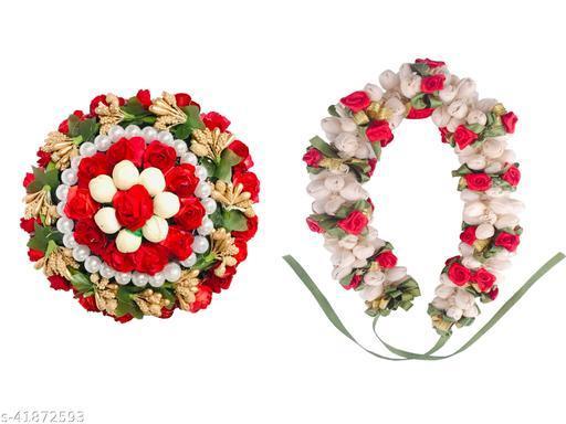 VinshBond Multicolor Mogra Gajra ,Bun Flower juda Mogra Gajra for Bridal and Parties for Women & Girls in Multicolor, (Pack-02)