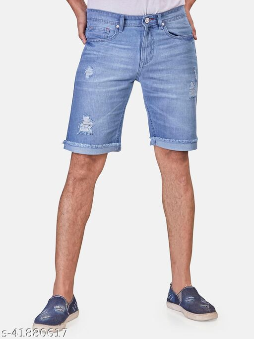 ROXTON- Mens Denim Regular Shorts(RX2001_ICE)