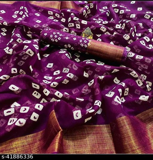 Chitra Trendy Bandhani Printed Linen Cotton Saree