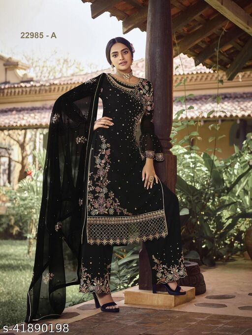 Charvi Fabulous Heavy Georgette Semi Stitched Suits & dress Meterials