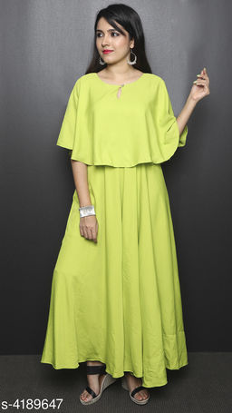Solid Yellow Maxi Crepe Dress