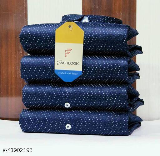 Fashlook Navy Blue Dotted Shirt For Men