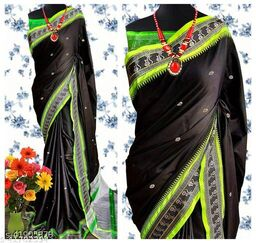 Nath Traditional Paithani Silk Sarees With Contrast Blouse Piece (Black & Neon Green )
