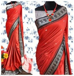 Nath Traditional Paithani Silk Sarees With Contrast Blouse Piece (Red & Black )