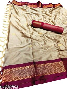 Sanskar Traditional Paithani Silk Sarees With Contrast Blouse Piece (Chiku & Red)