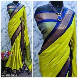 Sanskar Traditional Paithani Silk Sarees With Contrast Blouse Piece (Lemon & Navy)